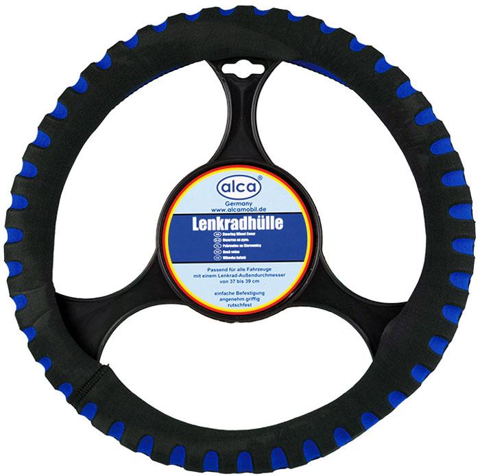 Чехол на руль Alca Люкс, перфорированный, цвет: черный, синий, диаметр 37-39 см596000Чехол на руль Люкс (перфорированный),d37-39 см