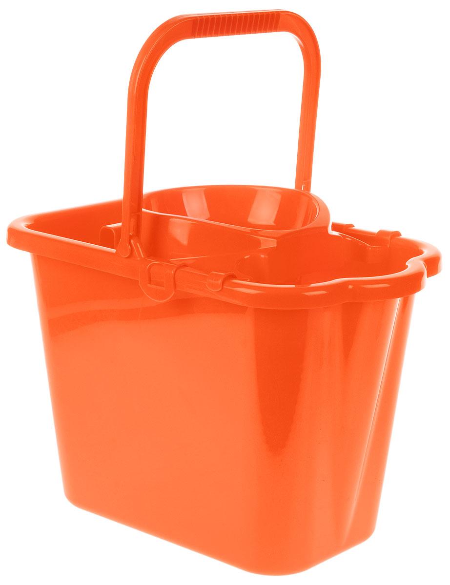 Ведро хозяйственное Idea, прямоугольное, с отжимом, цвет: оранжевый, 9,5 л ведро хозяйственное idea цвет мраморный 3 л