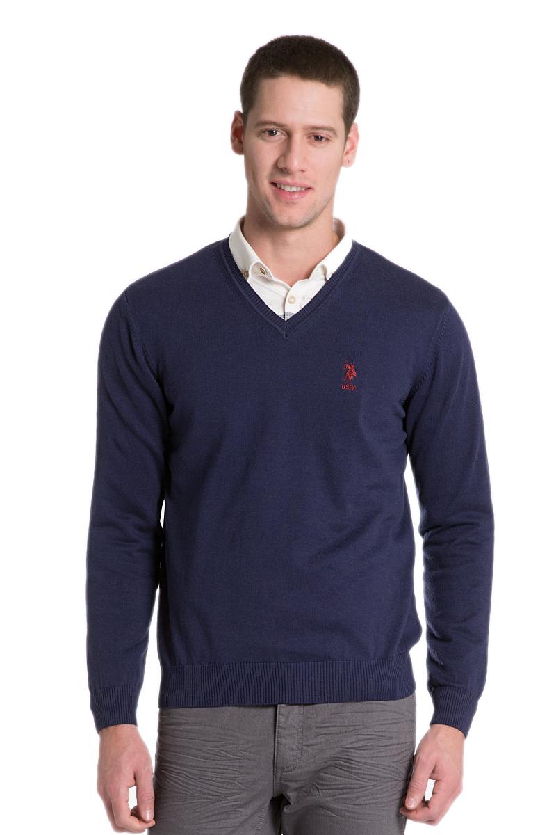 Пуловер мужской U.S. Polo Assn., цвет: темно-синий. G081GL0TK0GTD02SK6_VR033. Размер L (52)G081GL0TK0GTD02SK6_VR033Мужской пуловер с длинными рукавами и V-образным вырезом горловины выполнен из натурального хлопка.
