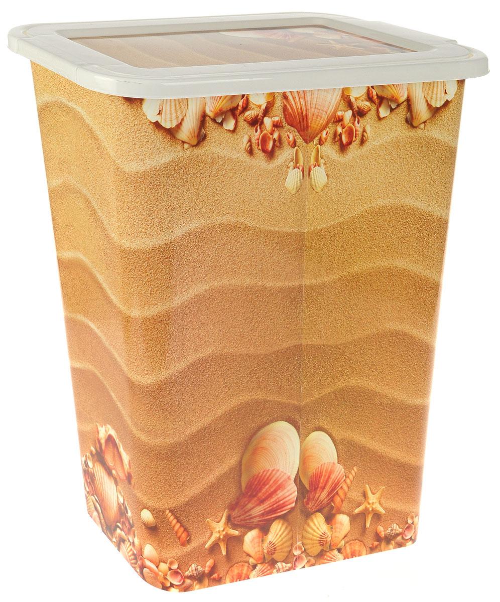 """Узкая корзина для белья """"Деко. Пляж"""" изготовлена из высокопрочного износостойкого полипропилена и оформлена красочным рисунком. Предназначена для хранения грязного белья перед стиркой. Изделие снабжено удобной крышкой. Благодаря яркому необычному дизайну, такая корзина станет настоящим украшением ванной комнаты."""