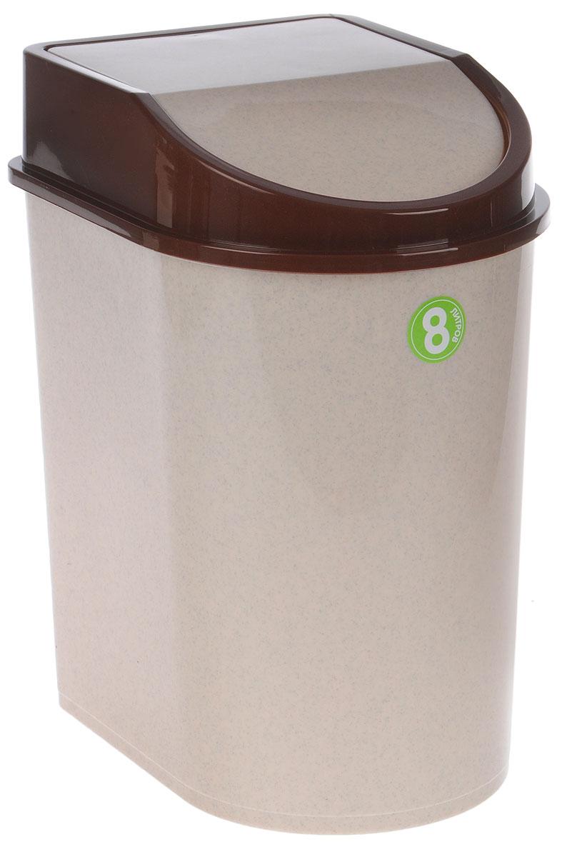 Контейнер для мусора Idea, цвет: бежевый, коричневый, 8 лМ 2481Мусорный контейнер Idea, выполненный из прочного полипропилена (пластика), не боится ударов и долгих лет использования. Изделие оснащено плавающей крышкой, с помощью которой его легко использовать. Крышка плотно прилегает, предотвращая распространение запаха. Вы можете использовать такой контейнер для выбрасывания разных пищевых и не пищевых отходов. Контейнер может пригодиться также в ванной комнате или у туалетного столика.