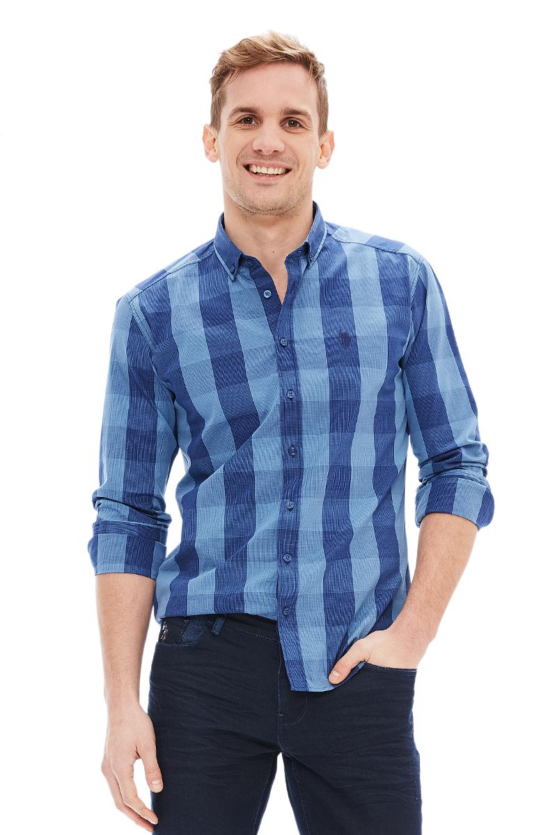Рубашка мужская U.S. Polo Assn., цвет: синий. G081GL004AVILTARIMOLA_VR036. Размер M (50) рубашка женская u s polo assn цвет синий голубой g082sz004helgaflox vr028 размер 40 46