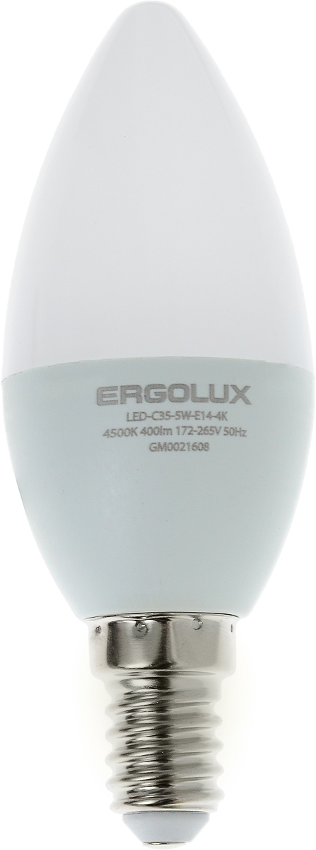 Лампа светодиодная Ergolux LED-C35-5W-E14-4K, холодный свет, цоколь Е14, 5 Вт лампочка ergolux свеча led c35 7w e14 4k 12135