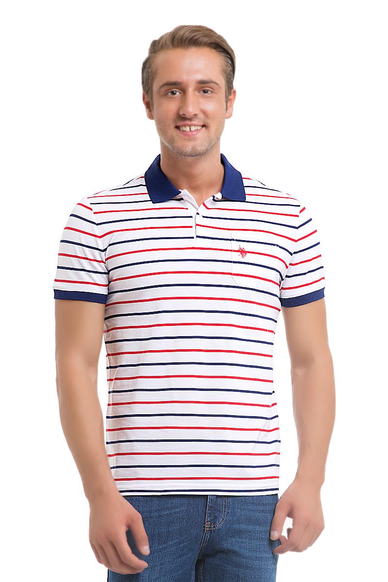 Поло мужское U.S. Polo Assn., цвет: белый, синий, красный. G081GL0110READ_BY0001. Размер S (48) рубашка женская u s polo assn цвет синий голубой g082sz004helgaflox vr028 размер 40 46
