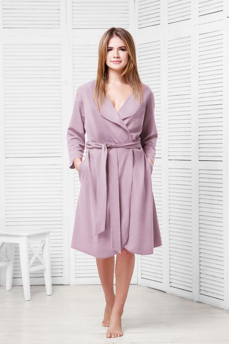 Халат женский Funny Bunny Casual, цвет: лаванда. 9060117172. Размер XXL (52) невидимка для волос funny bunny розовые цветы 2 шт