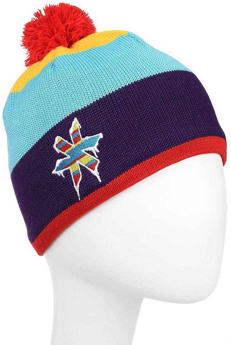 Шапка Kama Kamakadze, цвет: фиолетовый, голубой, желтый. KW50_104. Размер универсальныйKW50_104Спортивная шапка из смесовой шерсти на флисовой повязке с технологией Windstopper. Модель оформлена помпоном.