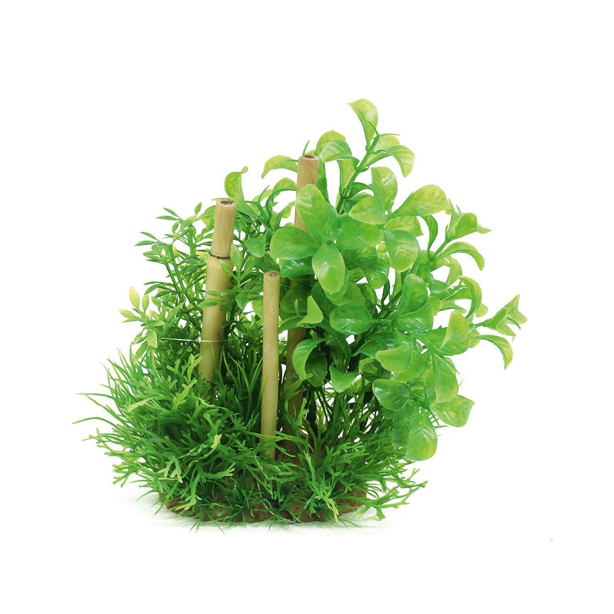 Композиция из растений для аквариума ArtUniq Людвигия зеленая с бамбуком, высота 20 см скребок для аквариума хаген складной