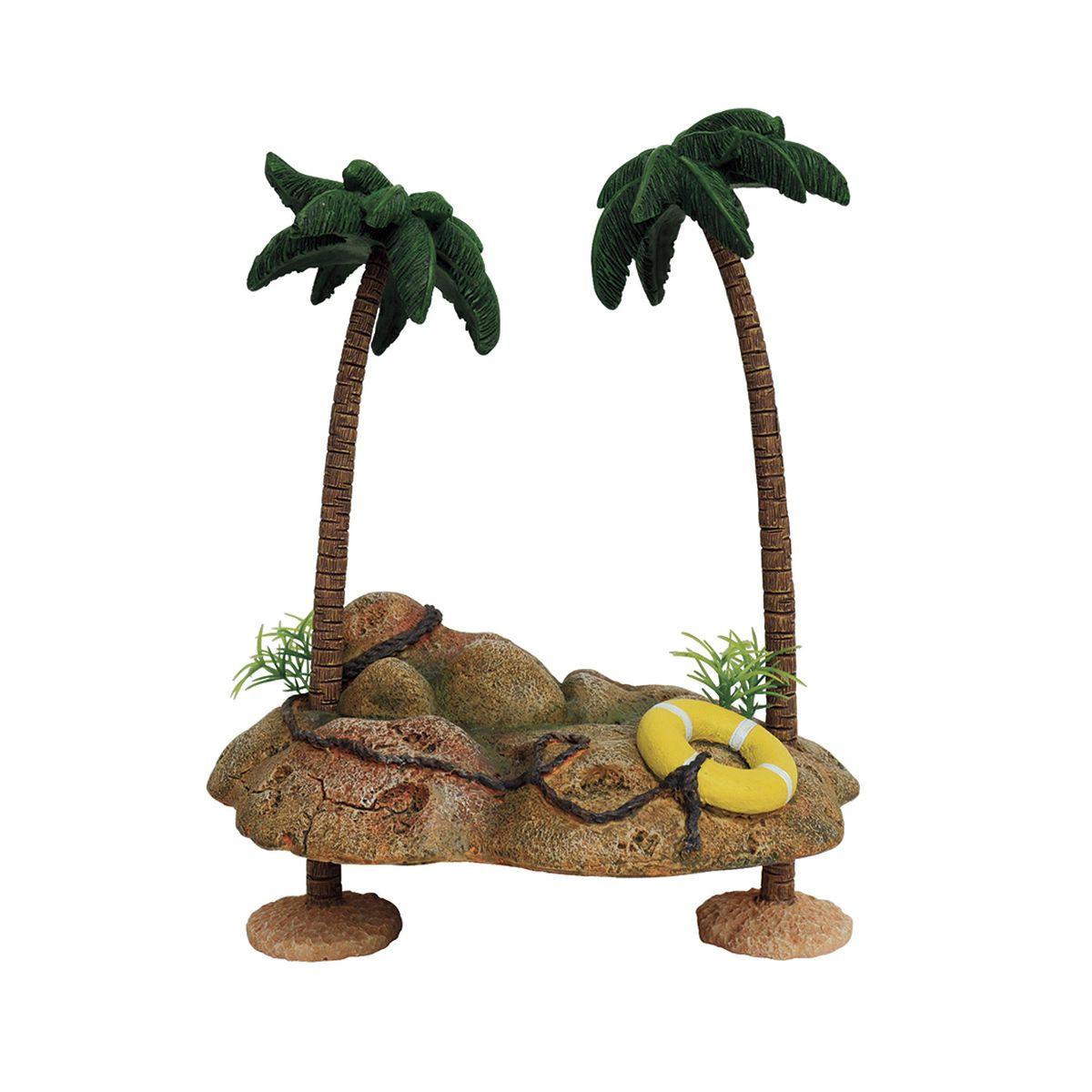 Декорация для аквариума ArtUniq Островок с пальмами для черепах, на присосках, 20,5 x 15,5 x 25,5 см декорация для аквариума artuniq пористый камень 20 5 x 10 5 x 18 8 см