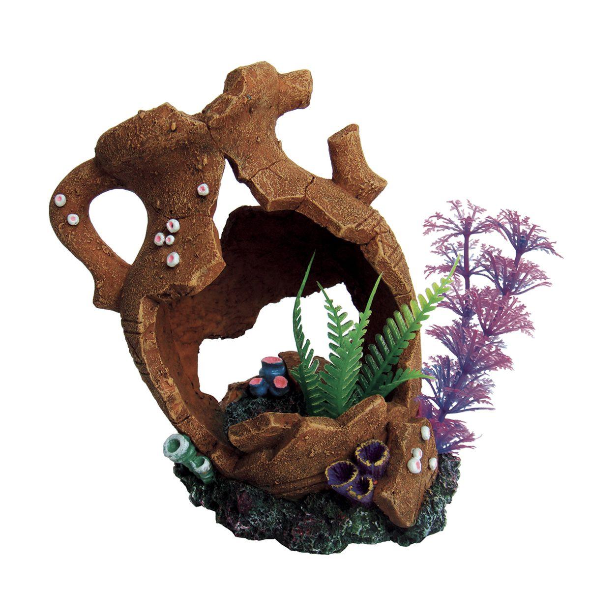 Декорация для аквариума ArtUniq Разбитый кувшин с растениями, 18,5 x 10,5 x 15,5 см декорация для аквариума artuniq пористый камень 20 5 x 10 5 x 18 8 см