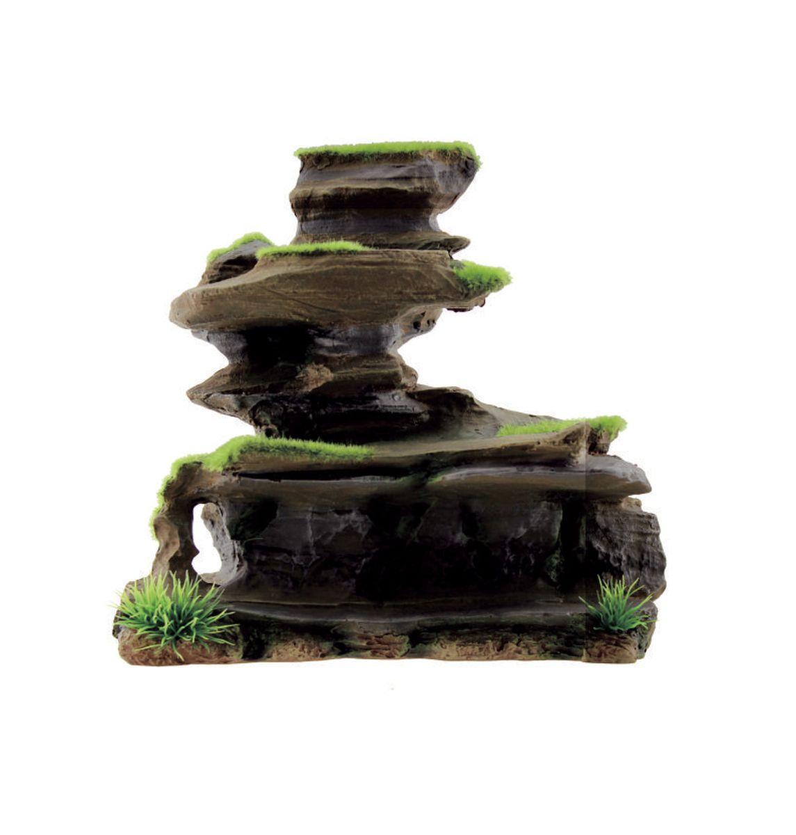 Декорация для аквариума ArtUniq Фигурная скала со мхом, 22,5 x 11,5 x 21,5 см
