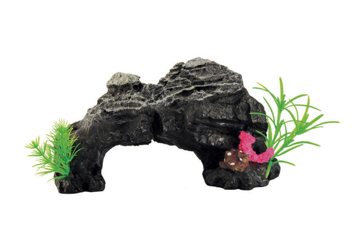 """Декорация для аквариума ArtUniq """"Скальная арка с растениями"""", 24 x 12 x 14 см"""