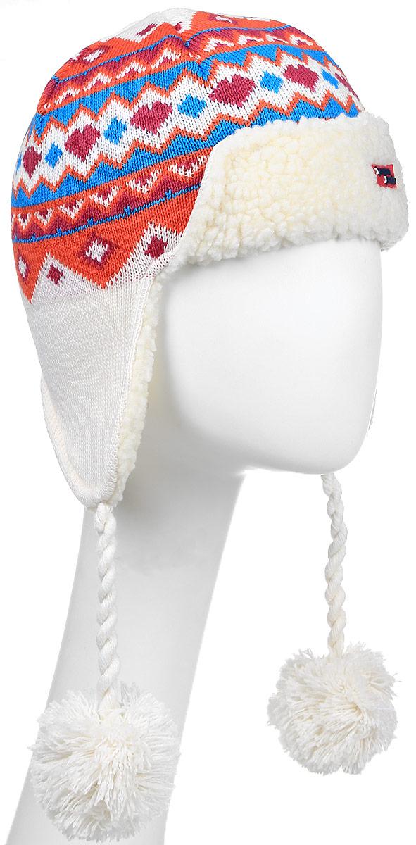 Шапка Kama Kamakadze, цвет: белый, красный. K52_101. Размер универсальныйK52_101Полушерстяная шапка-шлем на завязках с веселым норвежским узором на подкладе с технологией Tecnopile.