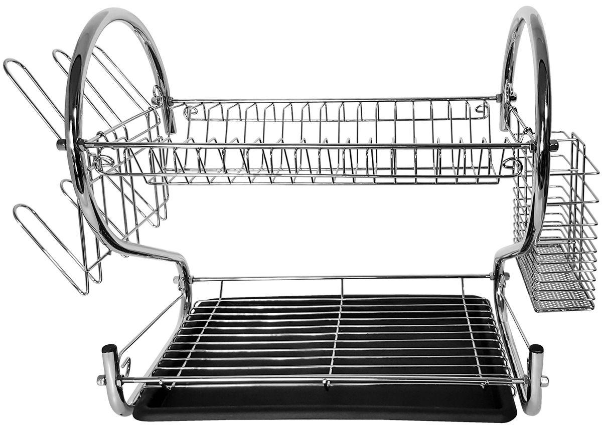"""Сушилка для посуды Tatkraft """"Helga"""" - двухуровневая хромированная сушилка для посуды со съемным держателем для стаканов и столовых приборов и съемным подносом для сбора воды. Легко мыть, быстра сборка не ржавеет."""