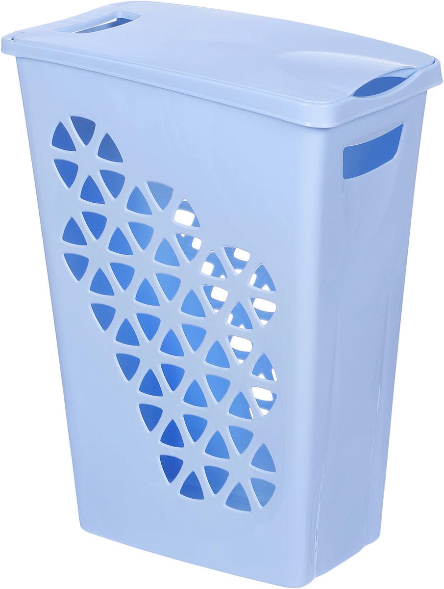Корзина для белья Idea Венеция, цвет: голубой, 43 х 26 х 55 см корзина для белья eva складная цвет серый 43 х 50 х 63 см