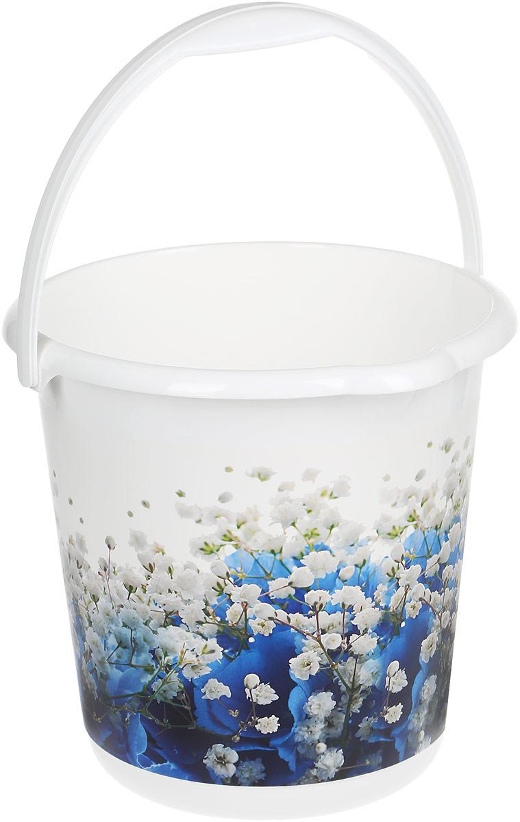 Ведро хозяйственное Idea Деко. Голубые цветы, 10 л цена