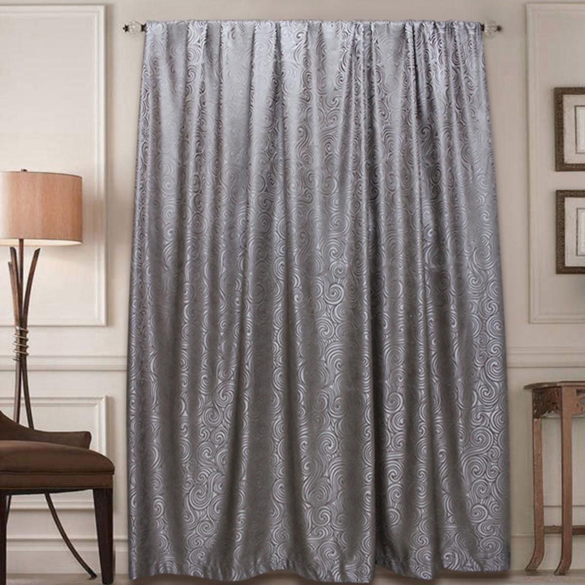 Штора Amore Mio, на ленте, цвет: серый, высота 270 см77631Готовая штора Amore Mio - это роскошная портьера для яркого и стильного оформления окон и создания особенной уютной атмосферы. Она великолепно смотрится как одна, так и в паре, в комбинации с нежной тюлевой занавеской, собранная на подхваты и свободно ниспадающая естественными складками.Такая штора, изготовленная полностью из прочного и очень практичного полиэстера, долговечна и не боится стирок, не сминается, не теряет своего блеска и яркости красок.
