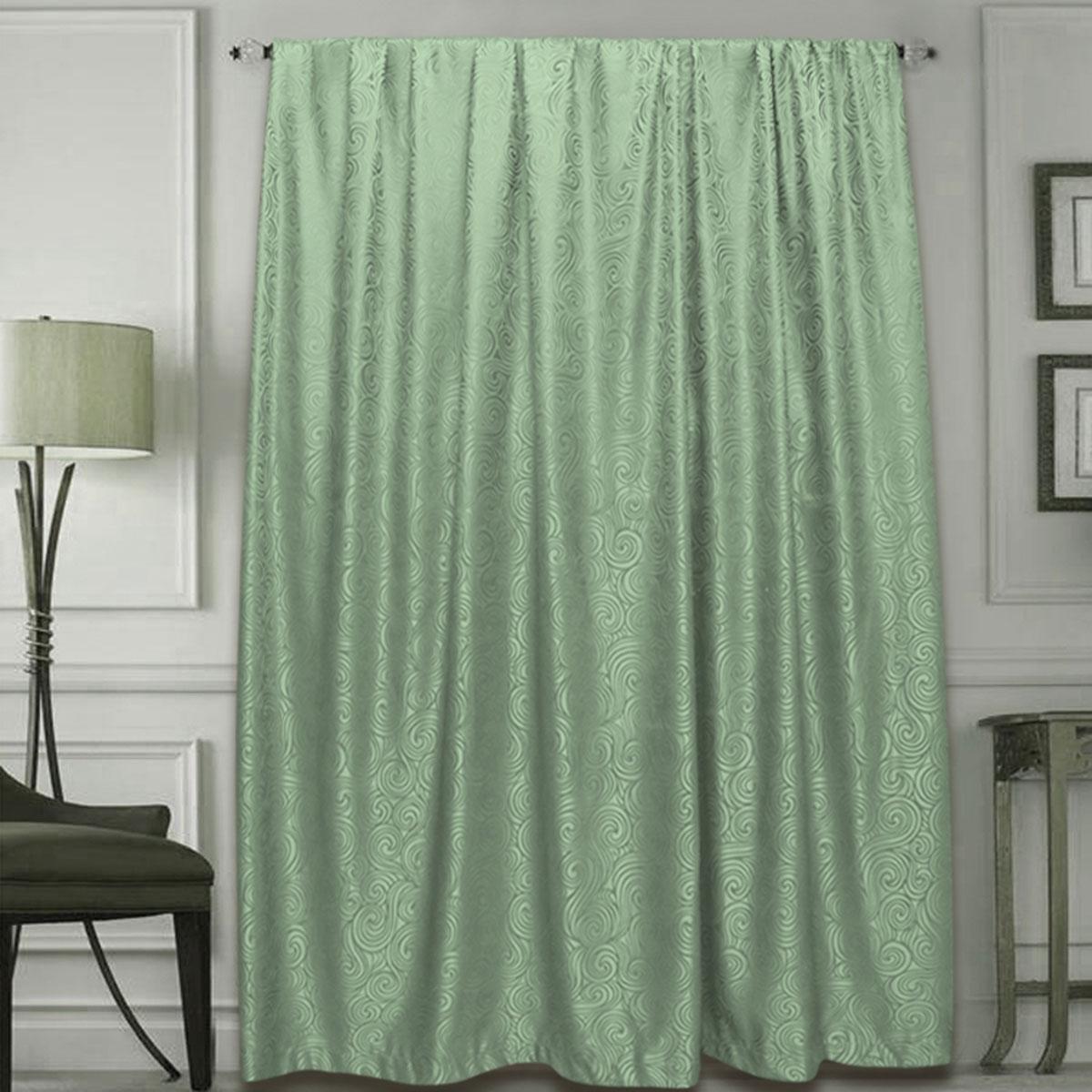 Штора Amore Mio, на ленте, цвет: зеленый, высота 270 см77633Готовая штора Amore Mio - это роскошная портьера для яркого и стильного оформления окон и создания особенной уютной атмосферы. Она великолепно смотрится как одна, так и в паре, в комбинации с нежной тюлевой занавеской, собранная на подхваты и свободно ниспадающая естественными складками.Такая штора, изготовленная полностью из прочного и очень практичного полиэстера, долговечна и не боится стирок, не сминается, не теряет своего блеска и яркости красок.