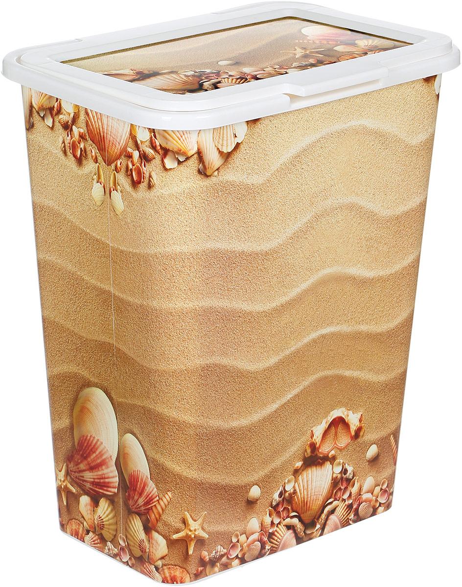 """Корзина для белья """"Деко. Пляж"""" изготовлена из высокопрочного износостойкого полипропилена и оформлена красочным рисунком. Предназначена для хранения грязного белья перед стиркой. Изделие снабжено удобной крышкой. Благодаря яркому необычному дизайну, такая корзина станет настоящим украшением ванной комнаты.Размер корзины: 43 х 32 х 53 см."""
