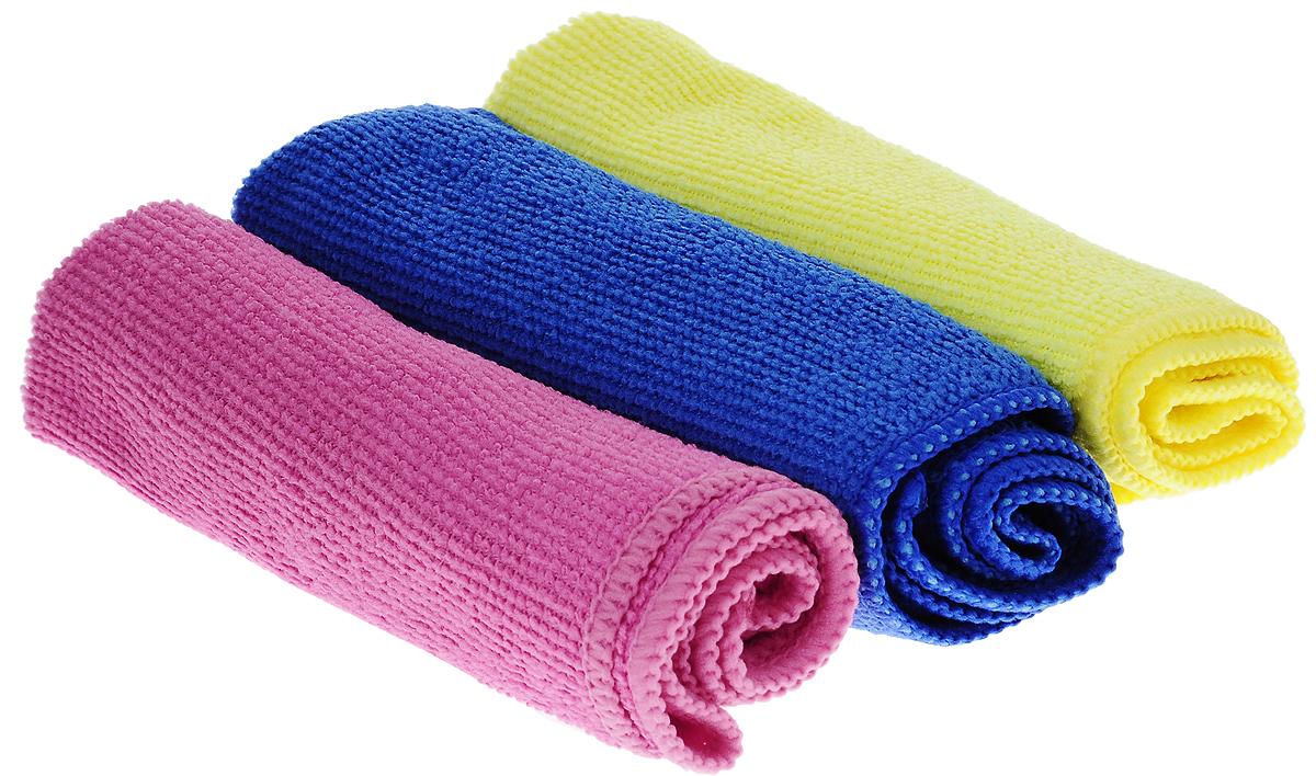 Набор салфеток для уборки Sol, из микрофибры, цвет: розовый, желтый, синий, 30 x 30 см, 3 шт420220_белыйНабор салфеток Sol выполнен из микрофибры. Микрофибра - это ткань из тонких микроволокон, которая эффективно очищает поверхности благодаря капиллярному эффекту между ними. Такая салфетка может использоваться как для сухой, так и для влажной уборки. Деликатно очищает любые поверхности, не оставляя следов и разводов. Идеально подходит для протирки полированной мебели. Сохраняет свои свойства после стирки.Рекомендации по применению и уходу:Для обеспечения гигиеничности рекомендуется прополаскивать салфетку после каждого применения с моющим средством. Для сохранения мягкости не рекомендуется сушить вблизи отопительных приборов и на батареях.