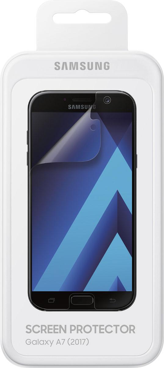 Samsung ET-FA720 защитная пленка для Galaxy A7 (2017), 2 штET-FA720CTEGRUЗащитная пленка Samsung ET-FA720 предназначена для защиты поверхности экрана Galaxy A7 (2017) от царапин, потертостей, отпечатков пальцев и прочих следов механического воздействия. Структура пленки позволяет ей плотно удерживаться без помощи клеевых составов и выравнивать поверхность при небольших механических воздействиях. Пленка практически незаметна на экране смартфона и сохраняет все характеристики цветопередачи и чувствительности сенсора. На защитной пленке есть все технологические отверстия.