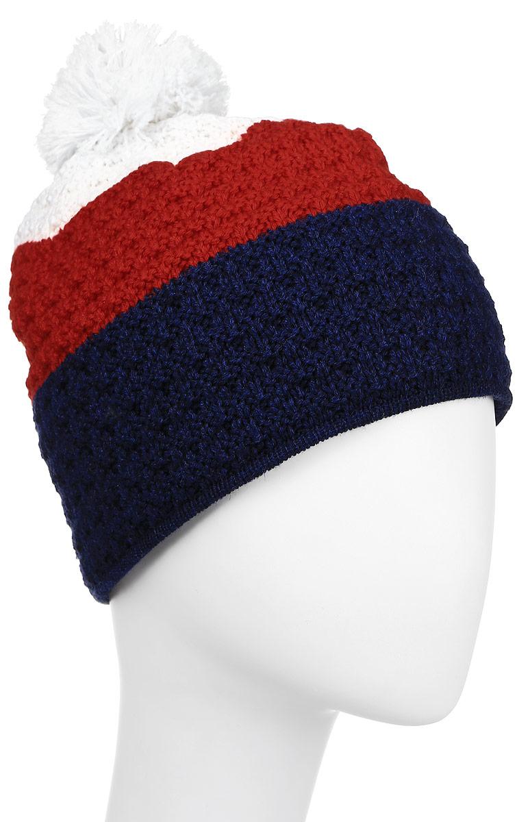 Шапка Kama Alpine Beanies, цвет: белый, красный, синий. A50_101. Размер 56/58A50_101Теплая шапка с помпоном, с внутренней стороны изделия флисовая повязка для лучшего сохранения тепла.