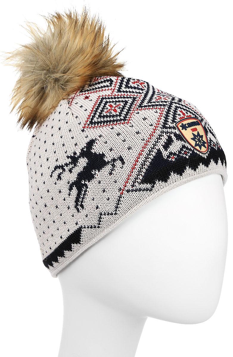 Шапка Kama Fashion Beanies, цвет: белый, синий. A98_112. Размер универсальныйA98_112Стильная полушерстяная шапка с норвежским узором и меховым помпоном. Оригинальный орнамент отлично дополнит ваш гардероб.