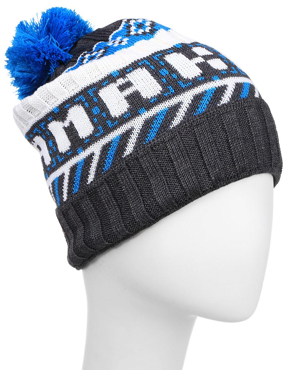 Шапка Kama Kamakadze, цвет: серый, голубой. K31_111. Размер универсальныйK31_111Полушерстяная шапка с контрастным принтом и надписью KAMAcadze. Оформлена помпоном и отворотом.