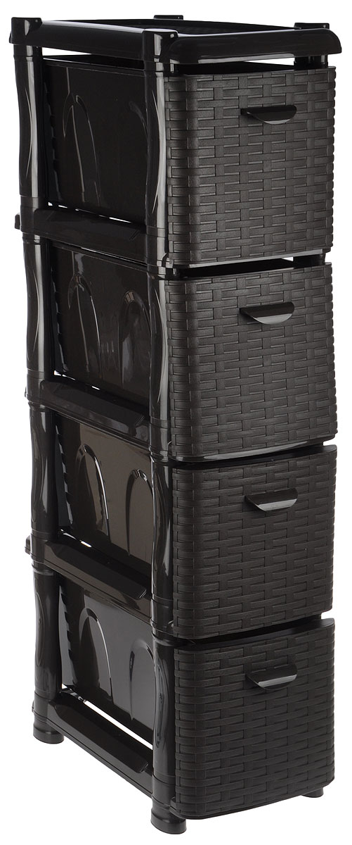 """Комод Idea """"Ротанг"""" изготовлен из высококачественного пластика. Ящики оформлены плетеными элементами. Комод предназначен для хранения различных вещей и состоит из четырех вместительных выдвижных секций. Такой необычный и яркий комод надежно защитит вещи от загрязнений, пыли и моли, а также позволит вам хранить их компактно и с удобством.Размер комода: 46 х 26 х 104 см.Размер ящика: 46 х 20 х 20 см."""