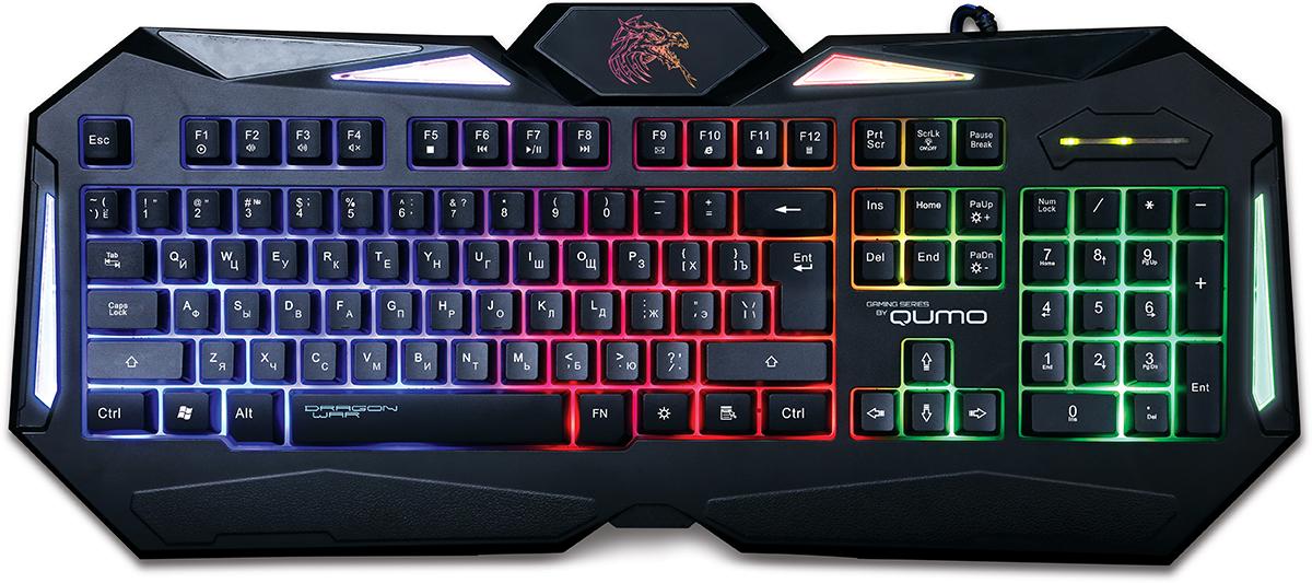 Qumo Dragon War Spirit, Black игровая клавиатура20795Ультратонкая клавиатура Qumo Dragon War Spiritобладает противоскользящим покрытием, и очень удобна в использовании. Особый космический шик клавиатуре придаёт лазерная гравировка символов и LED-подсветка и подсветка рабочей области, которые позволяют использовать её в темноте. Яркость подсветки можно регулировать по своему усмотрению.Клавиатура очень чувствительна к нажатиям. Мгновенная реакция устройства увеличивает шансы геймера обойти своих соперников в самой динамичной игре!Идеально точно разработанный дизайн клавиатуры под любую форму рук для еще более комфортного правленияУтяжеленная конструкция, чувствительные клавиши, клавиши выдерживают до 15 миллионов нажатийХод клавиш: 3,6 ммУсилие нажатия: 40 г