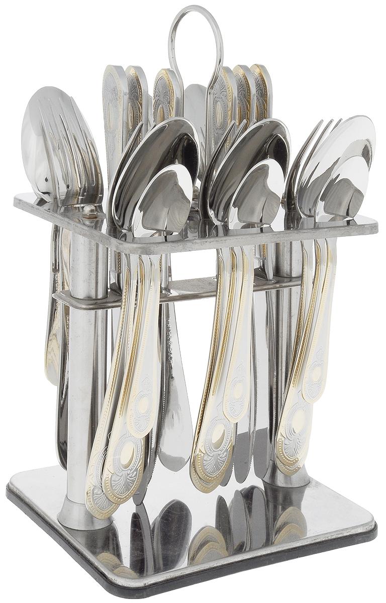 Набор столовых приборов Mayer&Boch, на подставке, 25 предметов. 2310623106В набор Mayer & Boch входят 25 предметов: 6 столовых ножей, 6 столовыхложек, 6 столовых вилок, 6 чайных ложек и подставка, выполненные из высококачественной нержавеющей стали. Прекрасное сочетание яркого дизайна и удобство использования предметов набора придется по душе каждому. Набор столовых приборов Mayer & Boch подойдет для сервировки стола как дома, так и на даче, а также станет замечательным подарком.Длина столовой ложки/вилки: 20,5 см. Длина чайной ложки: 14 см. Длина ножа: 23 см. Размер подставки: 15,5 х 13 х 28 см.