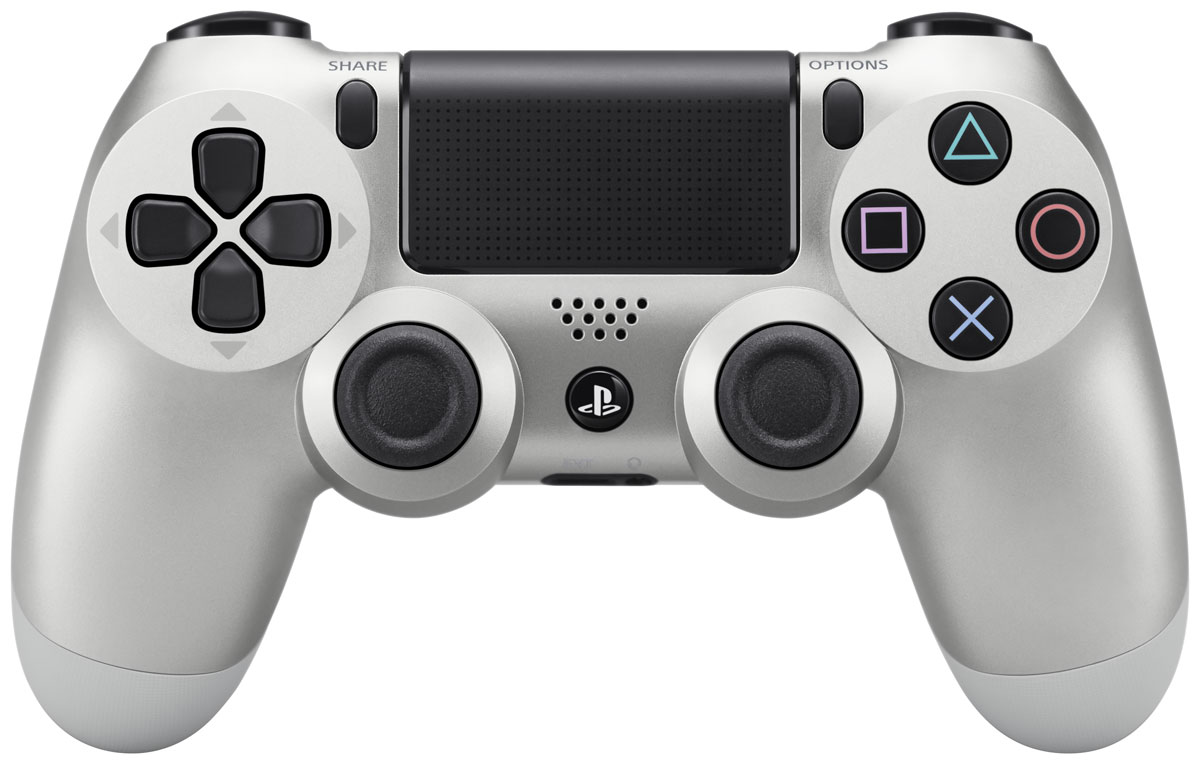 Sony DualShock 4 Cont, Silver геймпад для PS41CSC20002705Беспроводной контроллер Sony DualShock 4 оснащен подсветкой тачпада, совпадающей по цвету с подсветкойтыльной стороны контроллера. Это дает геймерам новый источник информации, например, о том, за какогоперсонажа они играют или о его уровне здоровья. Кроме того, новый DualShock 4 поддерживает возможность подключения через USB в дополнение к ужеимеющейся возможности подключения с помощью Bluethooth, что позволяет пользователям осуществлятьуправление через кабель.Встроенный емкостный тачпад определяет 2 точки касания. Сенсоры движения представлены шестиосевойсистемой отслеживания движений (трехосевой гироскоп,трехосевой акселерометр).Встроенный моно-динамик Разъемы: microUSB, разъем для наушников, порт расширения Версия Bluetooth: v2.1+EDR Тачпад: определяет 2 точки касания, отдача кликом, емкостный Клавиши/ Переключатели: кнопка PS, кнопка Share, кнопка Options, кнопки направления (Вверх/Вниз/Влево/Вправо), кнопки действия (Треугольник, Круг, Крестик, Квадрат), кнопки R1/L1/R2/L2, левый стик/кнопка L3, правый стик кнопка R3, кнопка тачпада