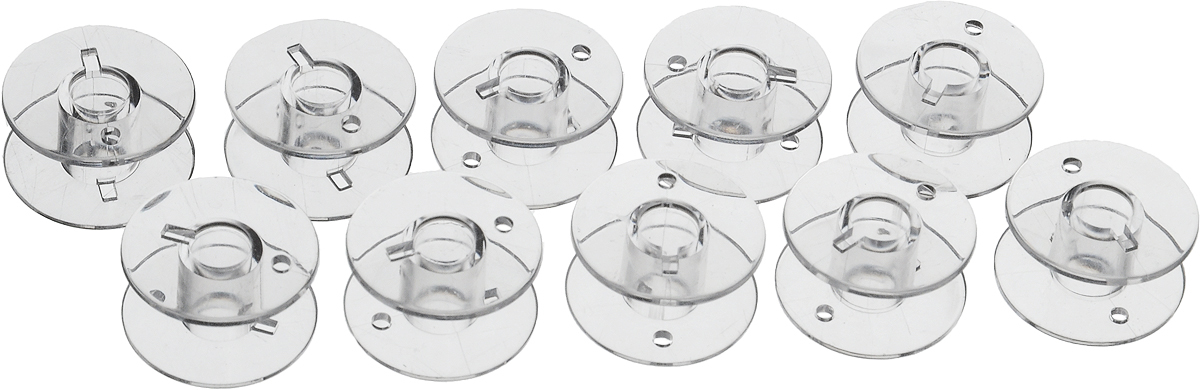 Шпульки Hemline для швейных машин Janome/New Home, 10 шт+120.04Шпульки Hemline подходят для швейных машин Janome/New Home, а также к швейным машинам Elna (Janome) с горизонтальной челночной системой. Изготовлены из прозрачного пластика. Пластиковые шпульки заменяют металлические шпульки, которыми снабжены машинки. Размер: 2 х 2 х 1 см.