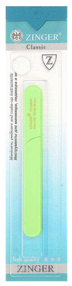 Zinger Пилка для ногтей zo-FG-02-10-Case, двусторонняя, стеклянная, цвет: салатовый44072Стеклянная двусторонняя пилочка Zinger zo-FG-02-10-Case не травмирует ногтевую пластину и подходит для ногтей любого вида, твердости и натуральности. Она изготовлена из высококачественного стекла и дополнена практичным пластиковым футляром с крышкой. Работа с ней доставляет приятные ощущения, особенно для ногтей с повышенной чувствительностью. Она также может применяться для обработки огрубевшей кожи вокруг ногтя. Возможна санитарная обработка. Товар сертифицирован.