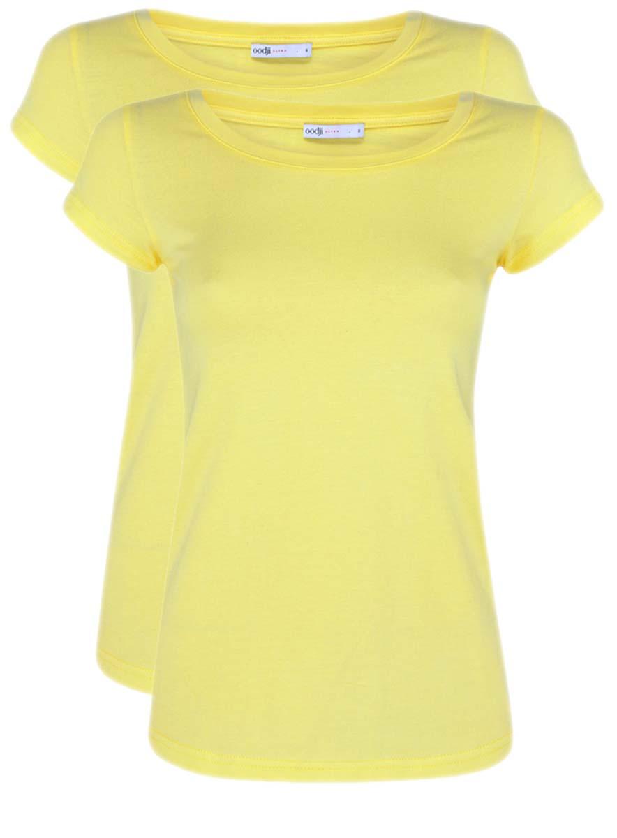 Футболка женская oodji Ultra, цвет: желтый, 2 шт. 14701008T2/46154/6700N. Размер XXS (40)14701008T2/46154/6700NЖенская приталенная футболка выполнена из хлопка. Модель с круглым вырезом горловины и стандартными короткими рукавами. В комплект входят 2 футболки.