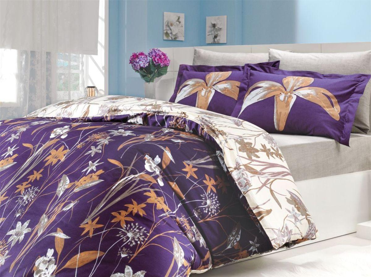 Комплект белья Hobby Home Collection Clarinda, евро, наволочки 70x70, цвет: фиолетовый комплект белья hobby home collection serefina евро наволочки 50x70 70x70 цвет персиковый