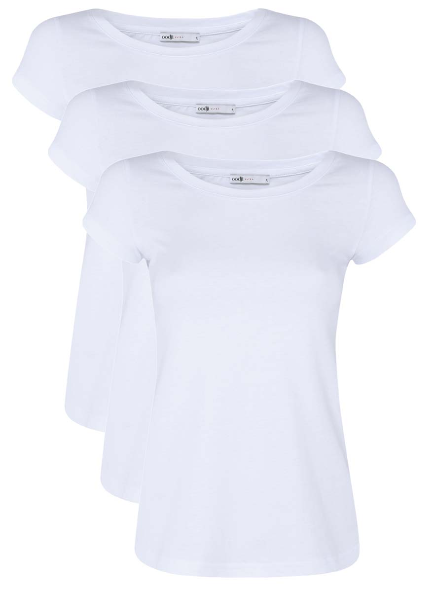 Футболка женская oodji Ultra, цвет: белый, 3 шт. 14701008T3/46154/1000N. Размер M (46)14701008T3/46154/1000NЖенская футболка oodji Ultra изготовлена из высококачественного натурального хлопка. Модель с короткими рукавами и круглым вырезом горловины имеет однотонную расцветку.