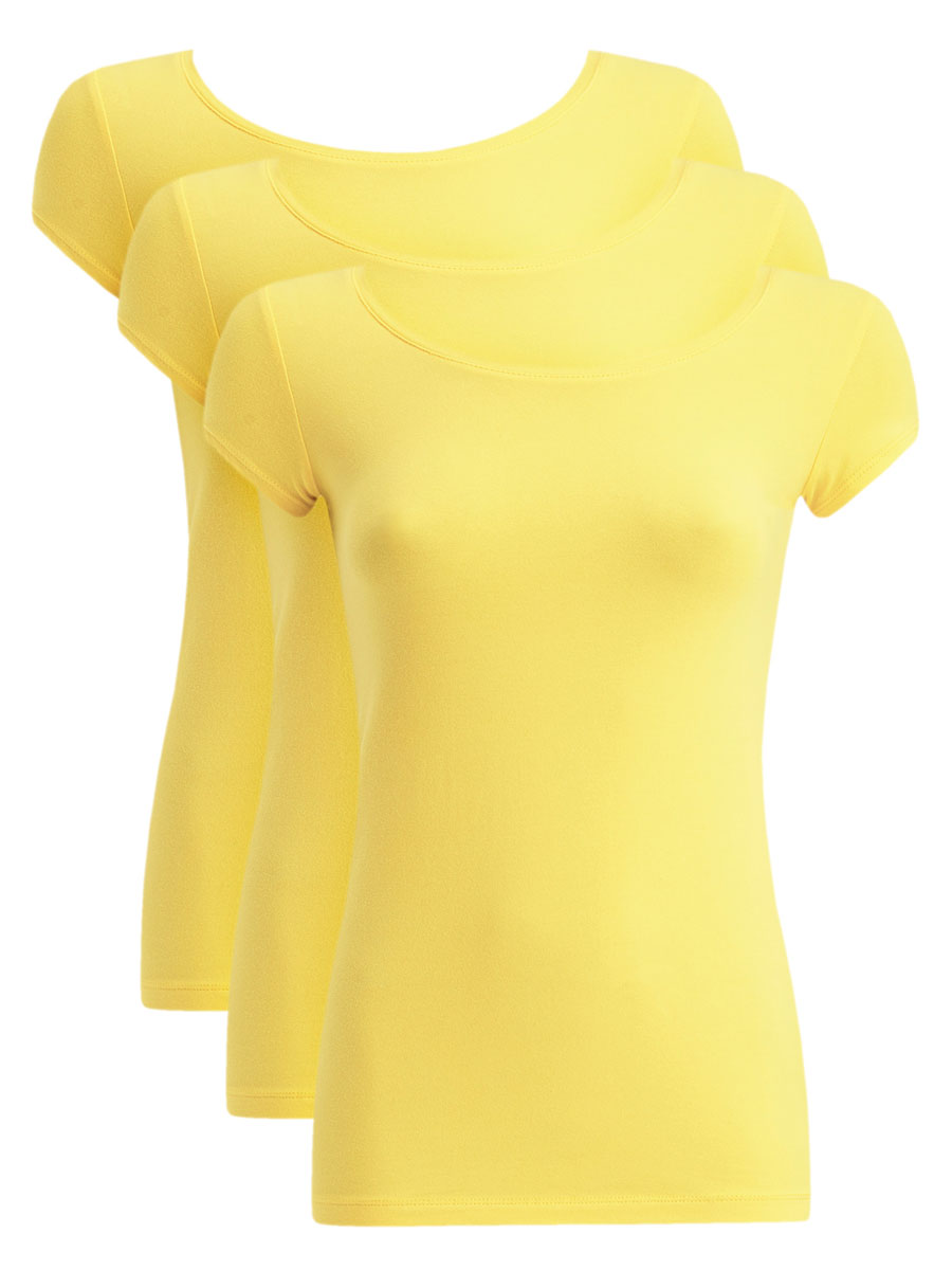 Футболка женская oodji Ultra, цвет: светло-желтый, 3 шт. 14701026T3/46147/6700N. Размер XXS (40)14701026T3/46147/6700NЖенская футболка oodji Ultra выполнена из эластичного хлопка. Модель с круглым вырезом горловины и короткими рукавами имеет приталенный силуэт. На спинке изделие украшено фигурным вырезом. В комплект входят 3 футболки.