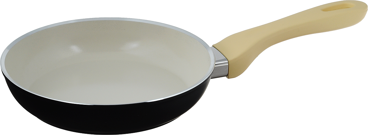 """Сковорода Attribute """"Avorio"""" изготовлена из алюминия с  высококачественным керамическим покрытием.  Керамика не содержит вредных примесей ПФОК, что  способствует здоровому и экологичному приготовлению  пищи. Кроме того, с таким покрытием пища не пригорает  и не прилипает к стенкам, поэтому можно готовить с  минимальным добавлением масла и жиров. Гладкая,  идеально ровная поверхность сковороды легко чистится,  ее можно мыть в воде руками или вытирать полотенцем.    Эргономичная ручка специального дизайна выполнена из  пластика с покрытием soft-touch, удобна в эксплуатации.    Сковорода подходит для использования на всех типах  плит, но кроме индукционных. Также изделие можно  мыть в посудомоечной машине. Высота стенки: 4,3 см.  Длина ручки: 19 см."""