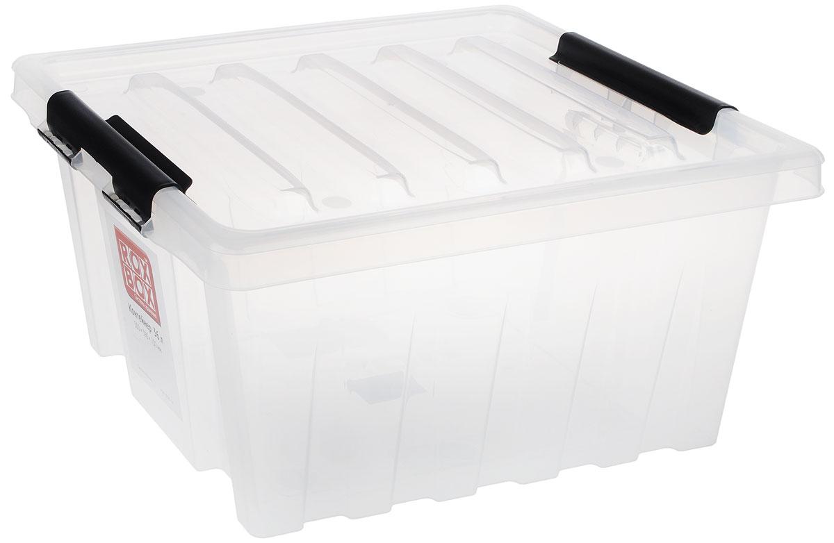 Контейнер для хранения Роксор, цвет: прозрачный, черный, 36 л212607Прозрачный контейнер Роксор выполнен из полипропилена, предназначен для хранения пищевых продуктов, инструментов, швейных принадлежностей, бумаг и многого другого. Универсальный контейнер для хранения с крышкой оснащен оригинальными ручками-фиксаторами, которые надежно и плотно удерживают крышку в закрытом положении. Толстые стенки и ребра жесткости придают ящикам особую прочность, уменьшая риск повреждения как самого ящика, так и его содержимого.