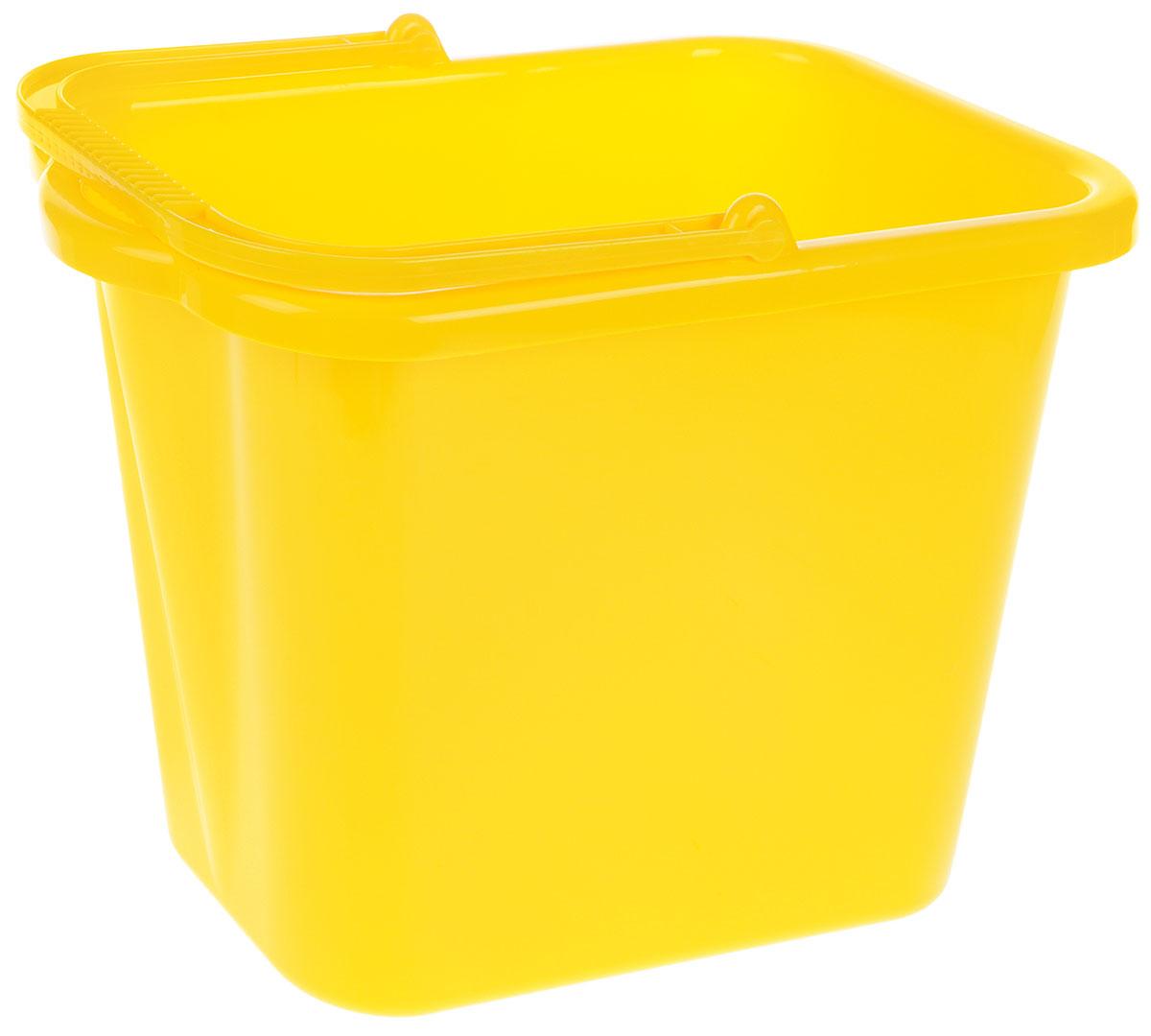 Ведро хозяйственное Idea, прямоугольное, цвет: желтый, 9,5 лМ 2420Прямоугольное ведро Idea изготовлено из прочного пластика. Изделие порадует практичных хозяек. Ведро можно использовать для пищевых продуктов или для мытья полов. Для удобного использования ведро имеет пластиковую ручку и носик для выливания воды. Размер ведра (по верхнему краю): 35 х 21,5 см.Высота: 25 см.