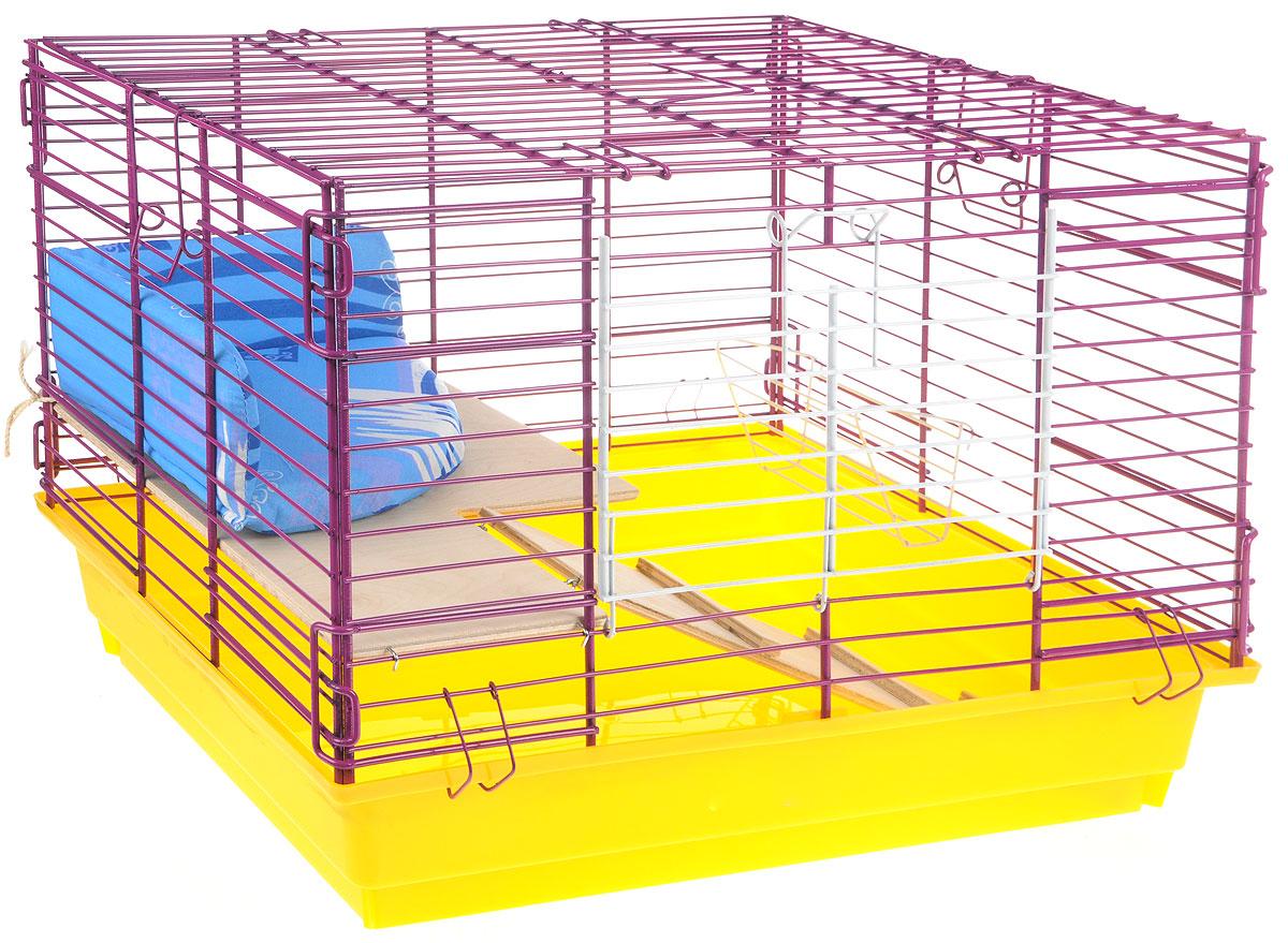 Клетка для кролика ЗооМарк, 2-этажная, цвет: желтый поддон, фиолетовая решетка, 59 х 40 х 41 см650ЖФКлетка для кроликов ЗооМарк, выполненная из металла и пластика, предназначена для содержания вашего любимца. Клетка имеет прямоугольную форму, очень просторна, оснащена съемным поддоном. Она очень легко собирается и разбирается. Для удобства вашего питомца в клетке предусмотрен мягкий уголок, в котором кролик сможет отдохнуть. Такая клетка станет для вашего питомца уютным домиком и надежным убежищем.
