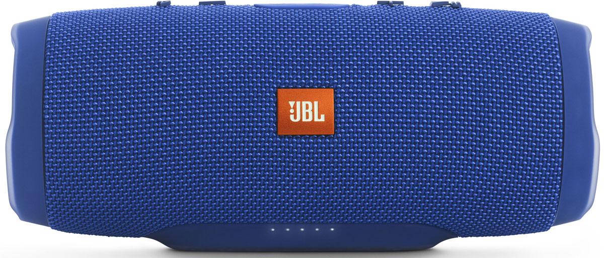 JBL Charge 3, Blue портативная акустическая системаJBLCHARGE3BLUEEUУникальная беспроводная портативная акустическая система JBL Charge 3 гарантирует мощный стерео-звук и источник энергии в одном устройстве. Благодаря водонепроницаемому прорезиненному тканевому корпусу вечеринку с Charge 3 можно устроить в любом месте - у бассейна и даже под дождем. Аккумулятор высокой емкости на 6000 мАч гарантирует бесперебойную работу в течение 15 часов и позволяет заряжать смартфоны и планшеты по USB. Встроенный микрофон с шумо- и эхоподавлением гарантирует идеально чистый звук во время телефонных разговоров по нажатию одной кнопки. Подключайте дополнительные колонки с поддержкой JBL Connect по беспроводному соединению для еще более мощного звука. Как выбрать портативную колонку. Статья OZON Гид