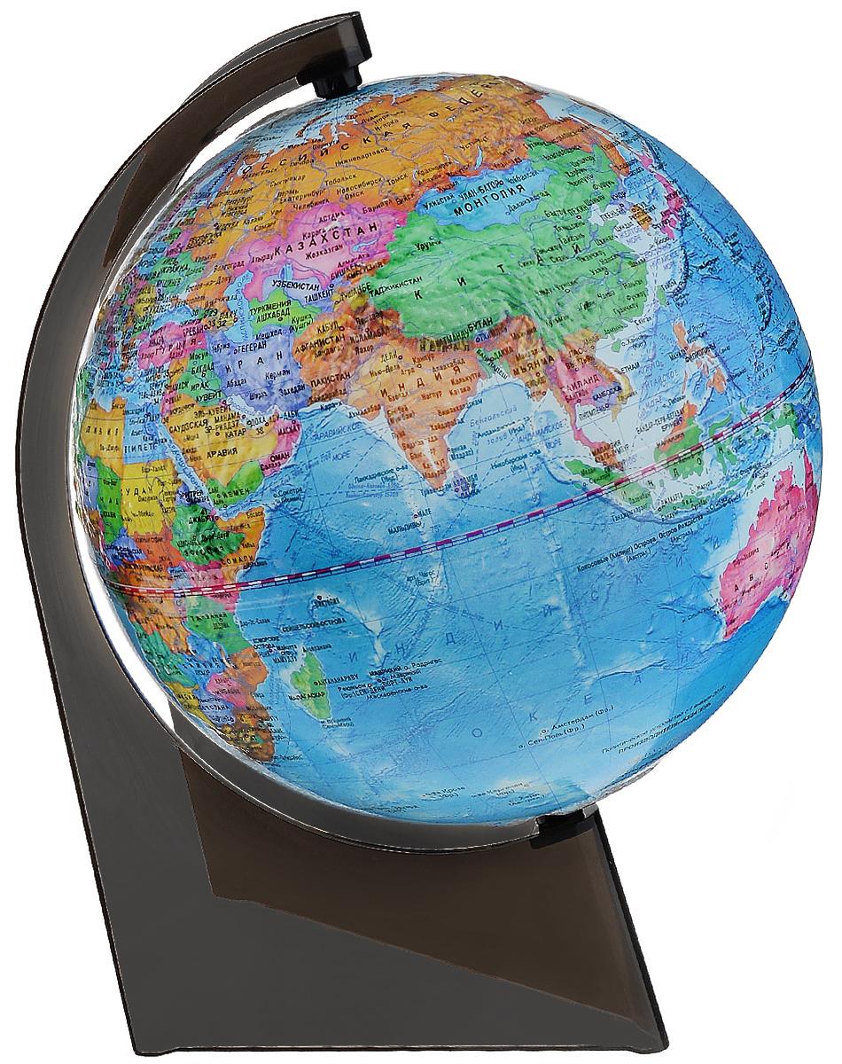 Глобусный мир Глобус с политической картой, рельефный, диаметр 21 см, на подставке10279Глобус рельефный с политической картой мира выполнен в высоком качестве, с четким и ярким изображением. Он даст представление о политическом устройстве мира. На нем отображены линии картографической сетки, показаны границы государств и демаркационные линии, столицы и крупные населенные пункты, линия перемены дат. Глобус легко вращается вокруг своей оси. Подставка черного цвета изготовлена из прочного пластика. Глобус является уменьшенной и практически не искаженной моделью Земли и предназначен для использования в качестве наглядного картографического пособия, а также для украшения интерьера квартир, кабинетов и офисов. Красочность, повышенная наглядность визуального восприятия взаимосвязей, отображенных на глобусе объектов и явлений, в сочетании с простотой выполнения по нему различных измерений делают глобус доступным широкому кругу потребителей для получения разнообразной познавательной, научной и справочной информации о Земле.Масштаб: 1:60000000.