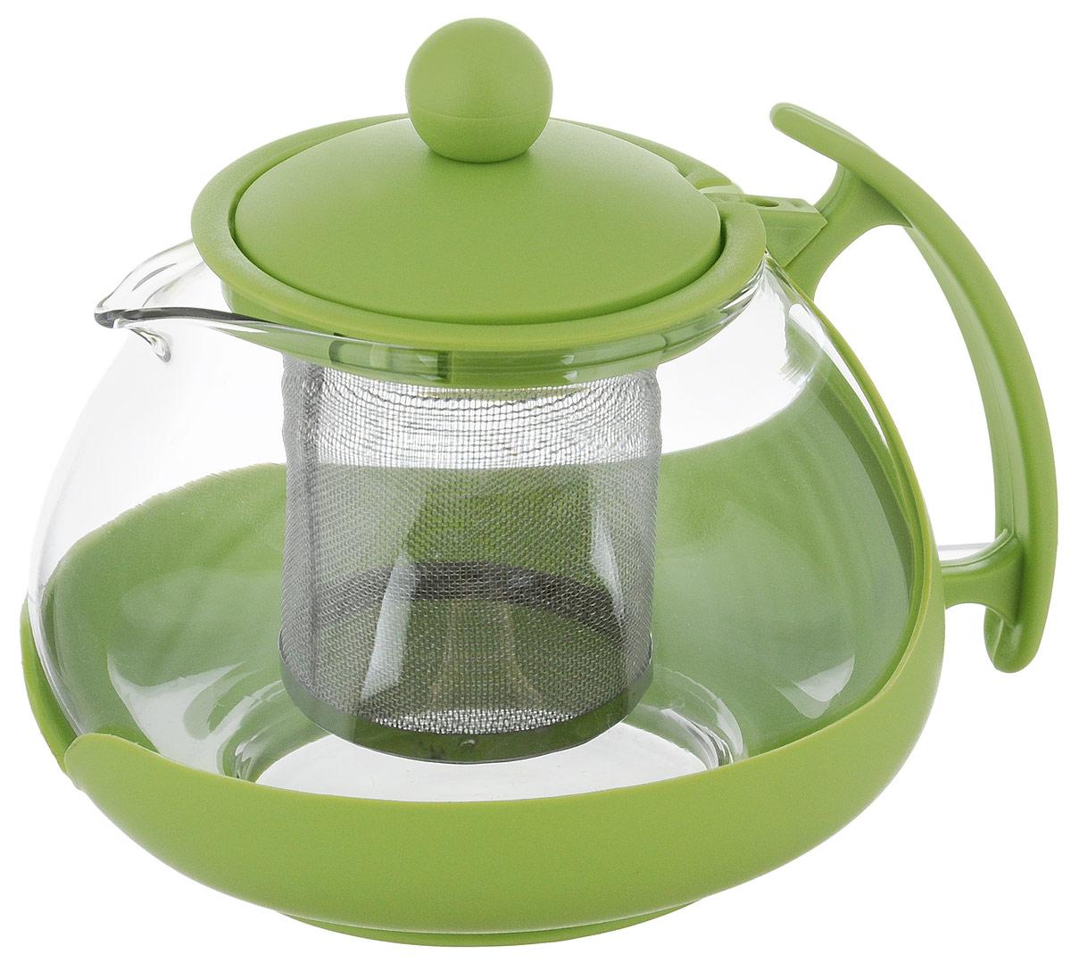 Чайник заварочный Bekker, с фильтром, цвет: салатовый, прозрачный, 750 мл. BK-307T04/35/01/01Заварочный чайник Bekker изготовлен извысококачественного стекла и пластика. Изделие оснащеносетчатым металлическим фильтром, который задерживаетчаинки и предотвращает их попадание в чашку, а прозрачныестенки дадут возможность наблюдать за насыщением напитка.Чай в таком чайнике дольше остается горячим, а полезные иароматические вещества полностью сохраняются в напитке. Диаметр чайника (по-верхнему краю): 8 см. Высота чайника: 9,5 см.