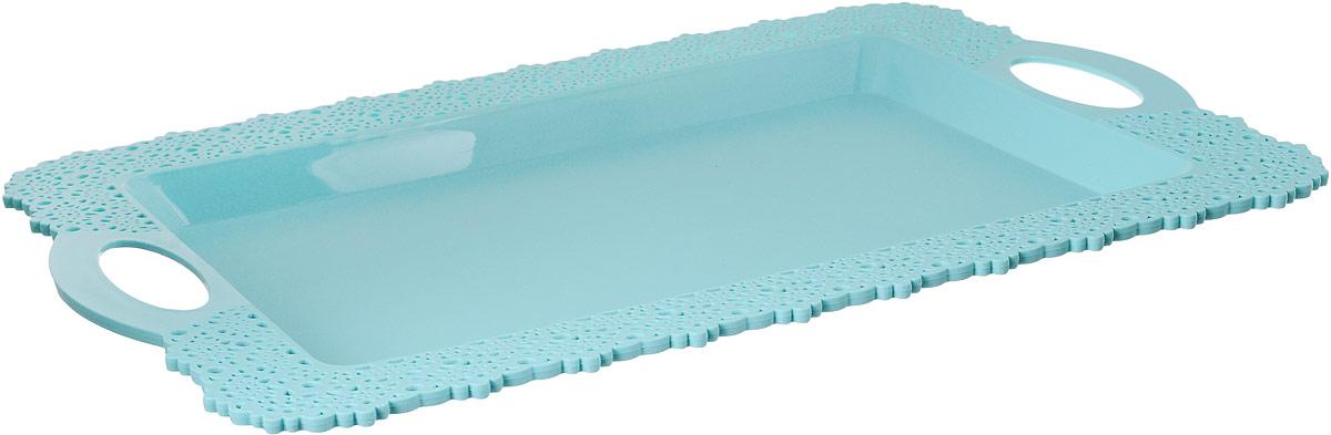 Поднос Idea Ажур, цвет: аквамарин, 30,5 х 43 смМ 1114Прямоугольный поднос Idea Ажур, изготовленный из высококачественного полипропилена, оснащен невысокими бортиками и ручками, благодаря которым его удобно переносить. Изделие можно использовать как для сервировки стола, так и для декора кухни. Поднос Idea Ажур прекрасно дополнит любой интерьер и добавит в обычную обстановку нотки романтики и изящества.