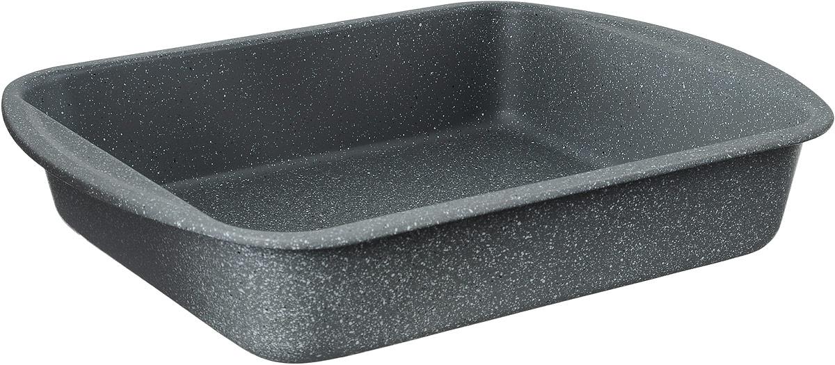 """Противень Termico """"Granito"""" изготовлен из  высококачественной углеродистой стали с керамическим и  антипригарным покрытиями, благодаря чему продукты не  пригорают и не прилипают к стенкам посуды. Кроме того,  готовить можно с добавлением минимального количества  масла и жиров. Антипригарное покрытие также обеспечивает  легкость мытья.  Стальные стенки посуды быстро распределяют тепло,  благодаря чему продукты запекаются равномерно.  Для чистки нельзя использовать абразивные чистящие  средства и жесткие губки.  Размер формы по-верхнему краю: 35 х 27 см.  Высота стенки формы: 6,8 см."""