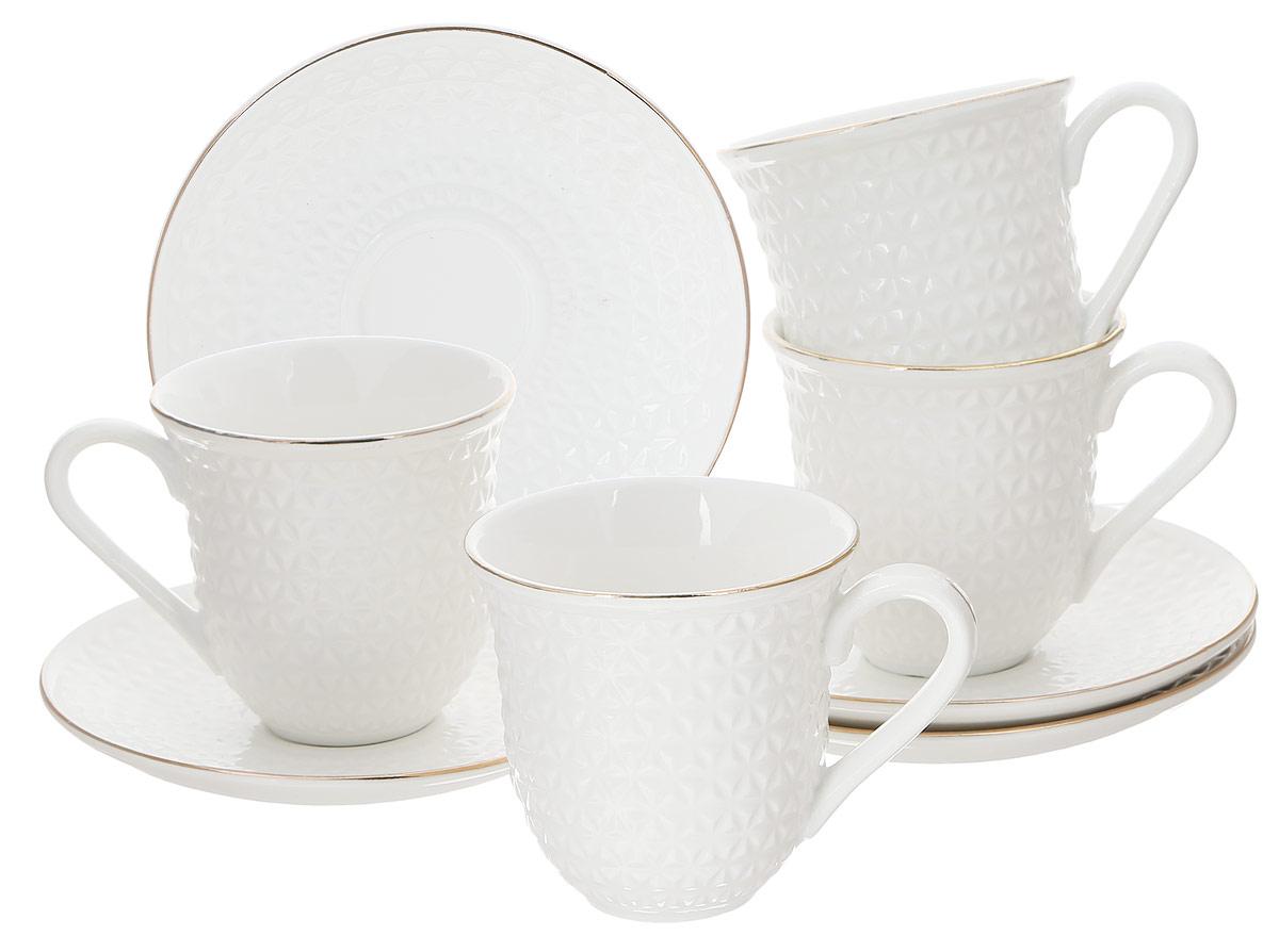 Набор чайный Loraine, 8 предметов. 2577825778Чайный набор Loraine состоит из 4 чашек и 4 блюдец, выполненных из высококачественного костяного фарфора. Изделия прекрасно дополнят сервировку стола к чаепитию. Благодаря изысканному дизайну и качеству исполнения такой набор станет замечательным подарком для ваших друзей и близких. Набор упакован в подарочную коробку, задрапированную белой атласной тканью. Объем чашки: 240 мл. Диаметр чашки по верхнему краю: 8,2 см. Высота чашки: 8,5 см. Диаметр блюдца: 14,4 см.Высота блюдца: 2 см.