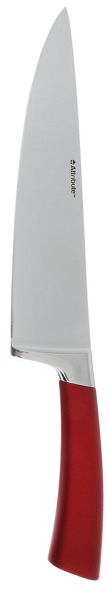 Нож поварской Attribute Knife Tango, цвет: красный, стальной, длина лезвия 19,5 смAKT620Нож поварской Attribute Knife Tango изготовлен из первоклассной нержавеющей стали и предназначендля нарезки овощей, фруктов, рыбы и мяса без костей. Лезвиесделано из высококачественной хромо-молибденово-ванадиевой стали из Германии. Технология холодной закалки обеспечивает долгую заточку и повышенную устойчивость к коррозии. Такой нож станет прекрасным дополнением к коллекции ваших кухонных аксессуаров и не займет много места при хранении. Общая длина ножа: 33 см.