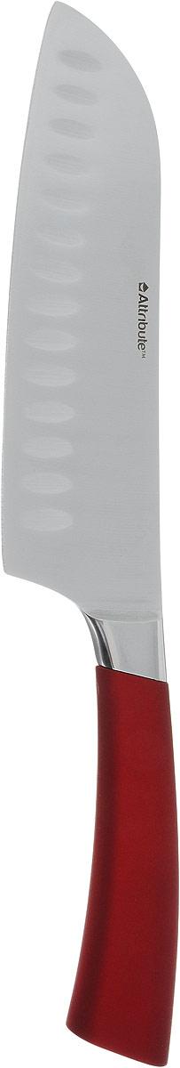 """Нож сантоку Attribute Knife """"Tango"""" изготовлен из первоклассной нержавеющей стали и предназначен для нарезки рыбы, мяса и других жилистых продуктов, также идеально годится для измельчения овощей и фруктов на рагу, суп, салат или другие закуски. Лезвие  сделано из высококачественной хромо-молибденово-ванадиевой стали из Германии. Технология холодной закалки обеспечивает долгую заточку и повышенную устойчивость к коррозии. Такой нож станет прекрасным дополнением к коллекции ваших кухонных аксессуаров и не займет много места при хранении. Общая длина ножа: 31 см."""
