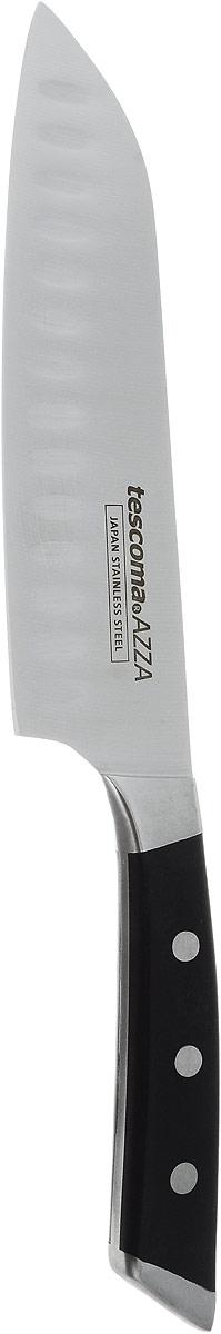 Нож сантоку Tescoma Azza, длина лезвия 18 см884532Нож Tescoma Azza изготовлен из первоклассной нержавеющей стали и предназначен для нарезки рыбы, мяса и других жилистых продуктов, также идеально годится для измельчения овощей и фруктов на рагу, суп, салат или другие закуски. Двустороннее зубчатое лезвие предотвращает от прилипания пищи и облегчает резку. Выкован из цельного куска первоклассной нержавеющей стали, с устойчивым лезвием, эргономическая ручка с массивными заклепками.Общая длина ножа: 30 см.
